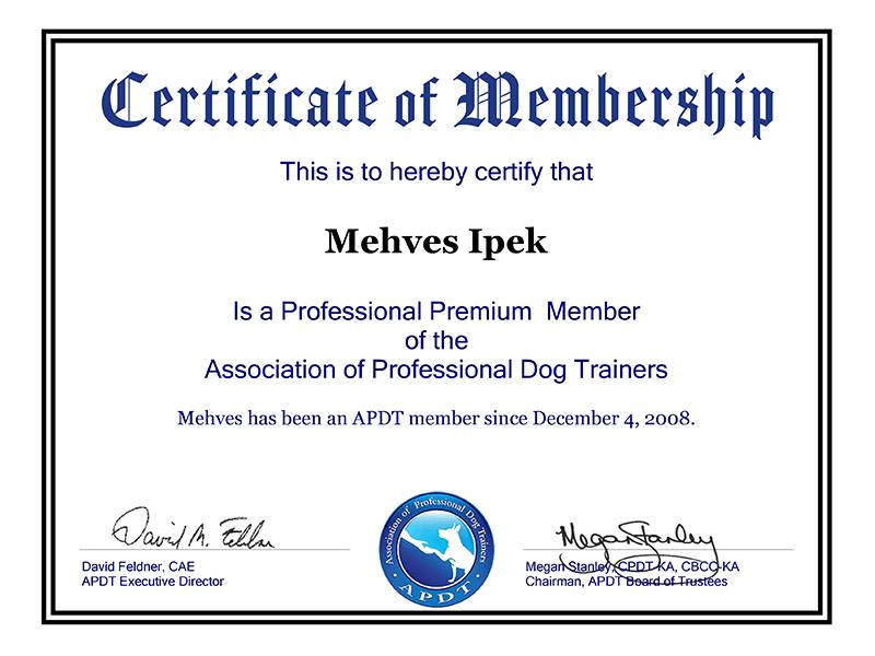 APDT Membership Certifiace